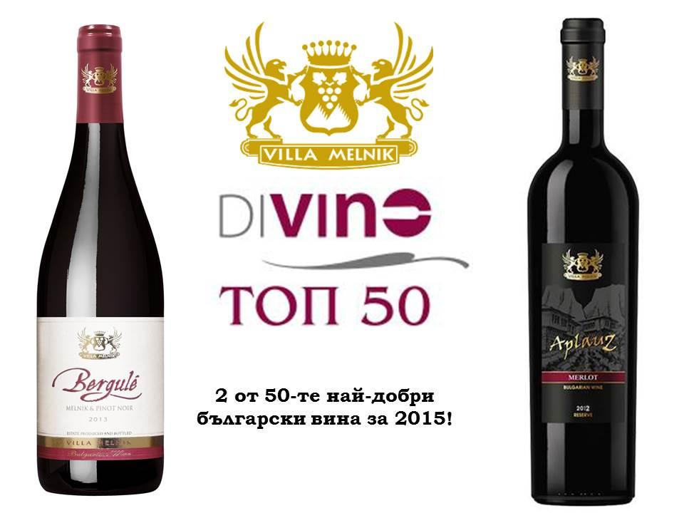 Вила Мелник с две вина в ТОП 50 на България